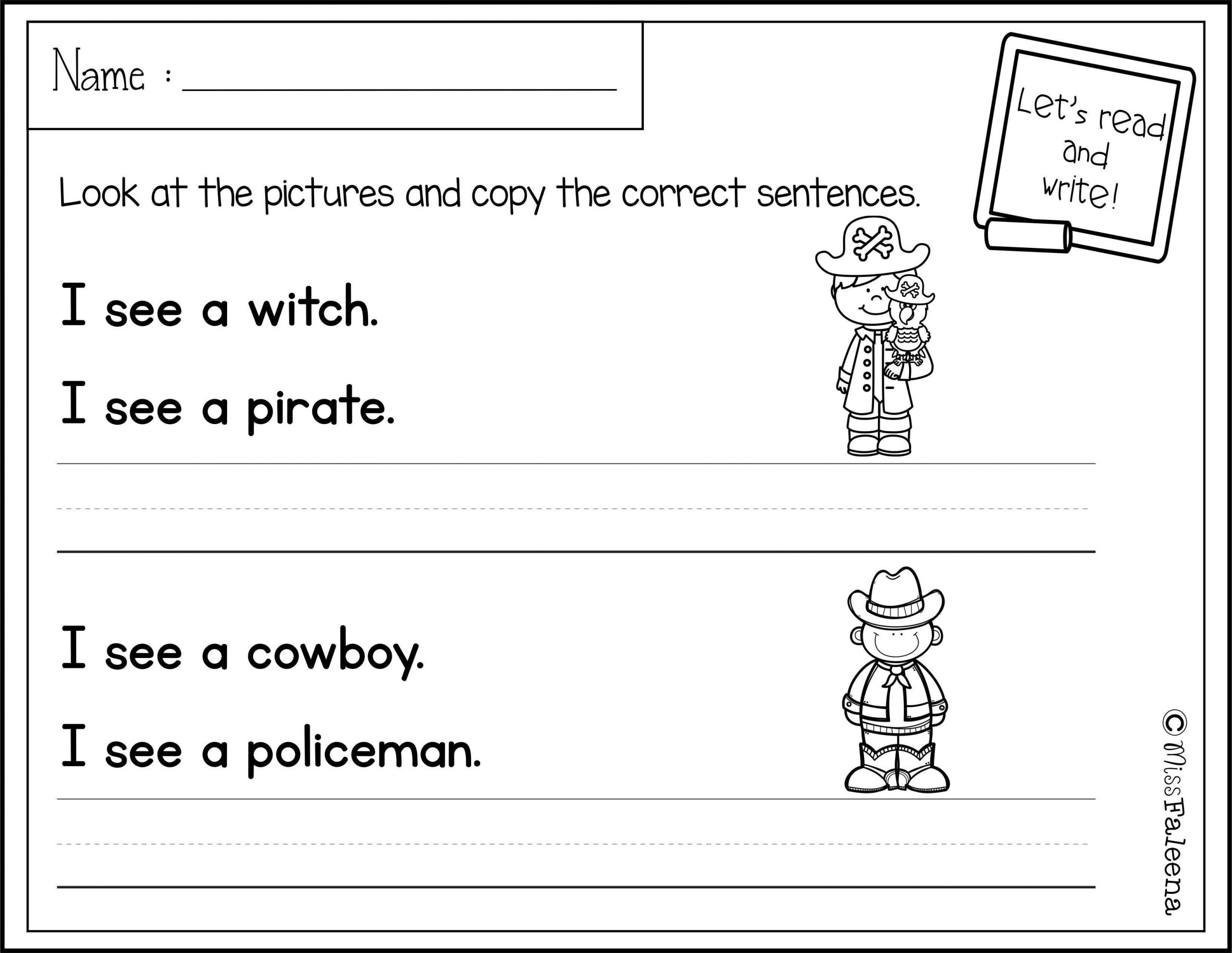 First Grade Sentence Writing Worksheets October Sentence Writing