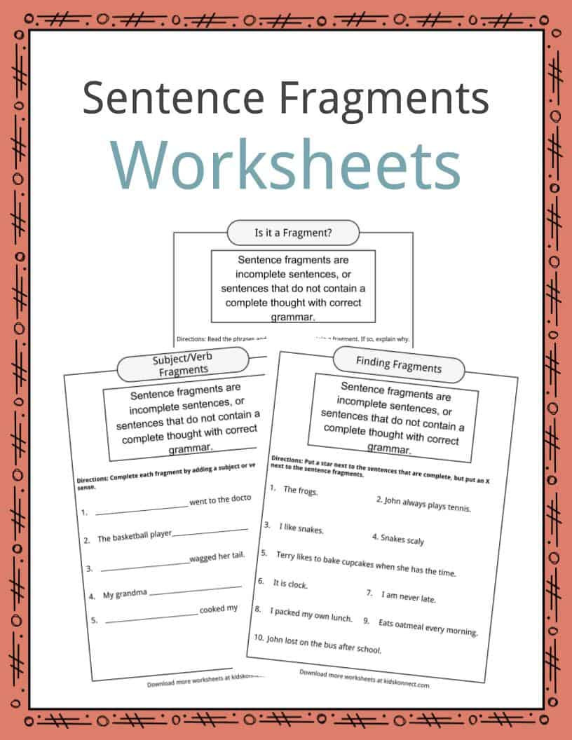 First Grade Sentence Writing Worksheets Sentence Fragments Worksheets Examples & Definition for Kids
