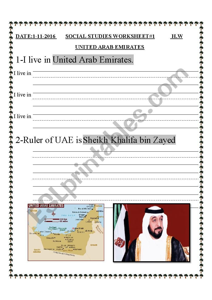 "First Grade social Studies Worksheets Grade 1 ""uae social Studies "" Esl Worksheet by Sahar Ammad"