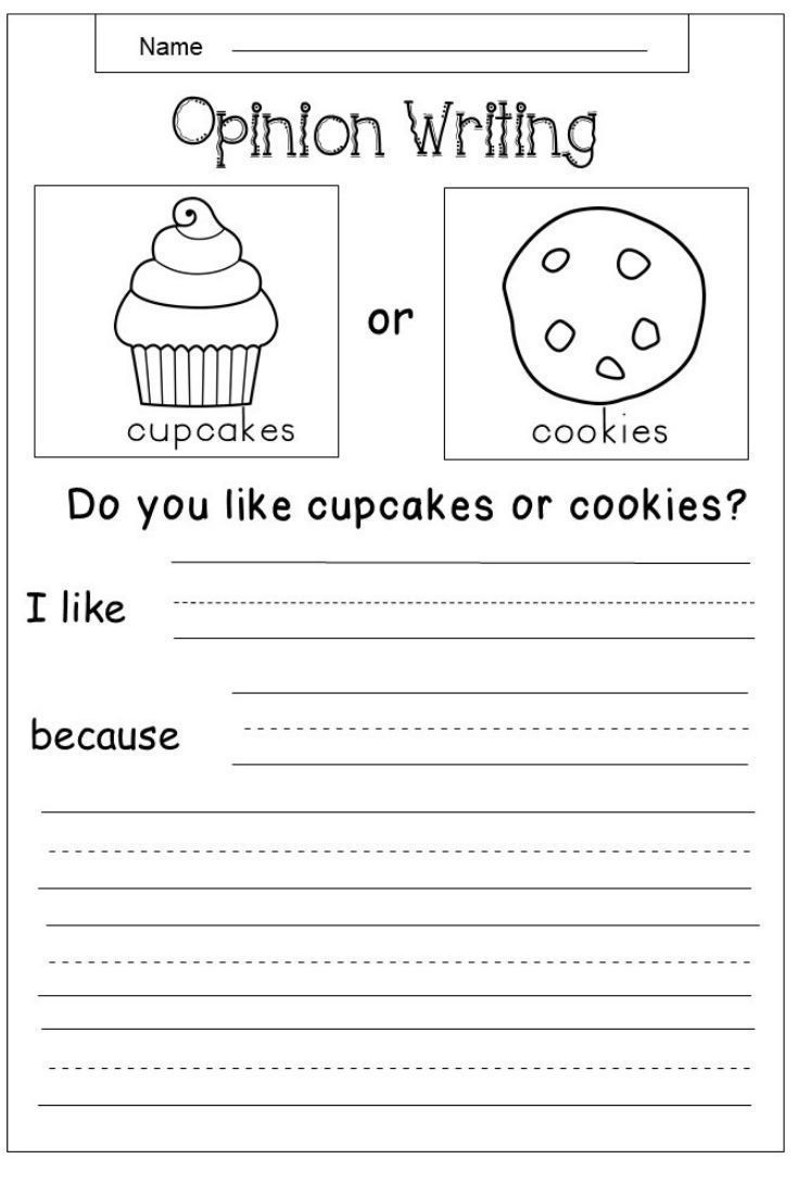 First Grade Writing Worksheets Free Opinion Writing Printable Kindermomma