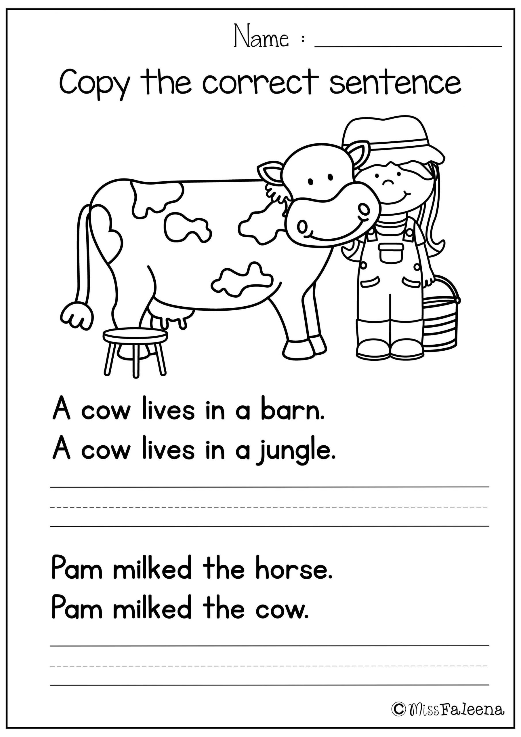 First Grade Writing Worksheets Free Sentence Writing Copy the Correct Sentence