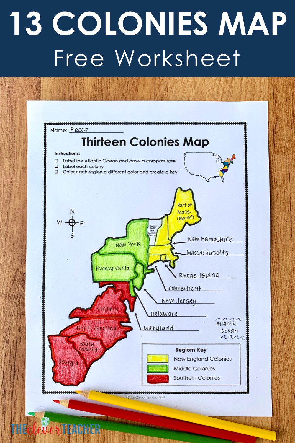Florida History Worksheets 4th Grade 13 Colonies Free Map Worksheet and Lesson for Students