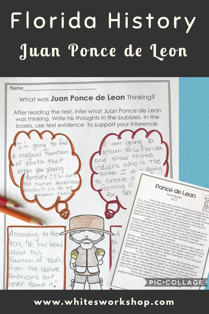 Florida History Worksheets 4th Grade Juan Ponce De Leon and Florida History