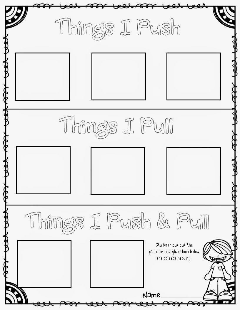 Force and Motion Printable Worksheets force and Motion Pushes and Pulls