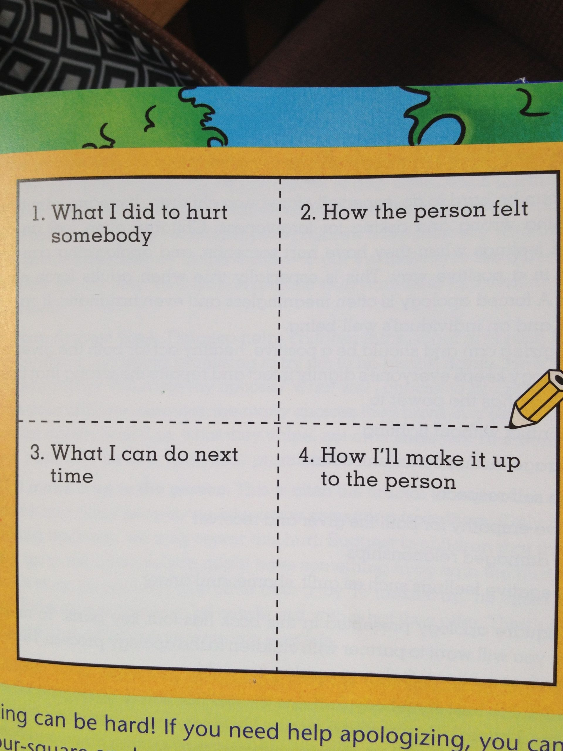 Four Square Writing Worksheets Four Square Apology Chart to Write or Draw In