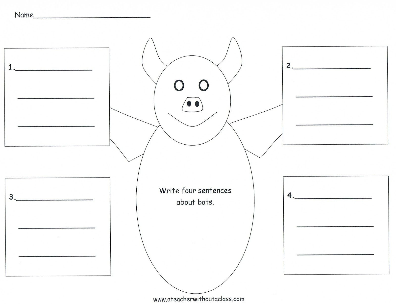 Four Square Writing Worksheets Four Square Writing Template for A Bat