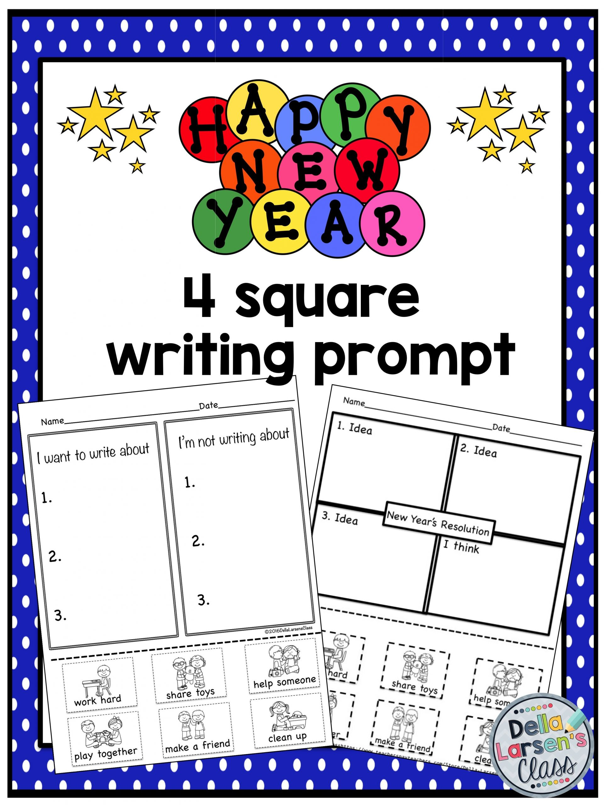 Four Square Writing Worksheets New Year S Resolution 4 Square Writing Prompt for