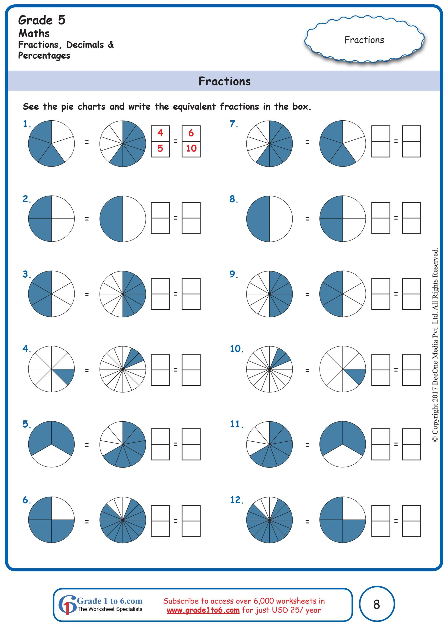 Fraction Worksheets First Grade Free Math Worksheets for Grade Through Subscribe to