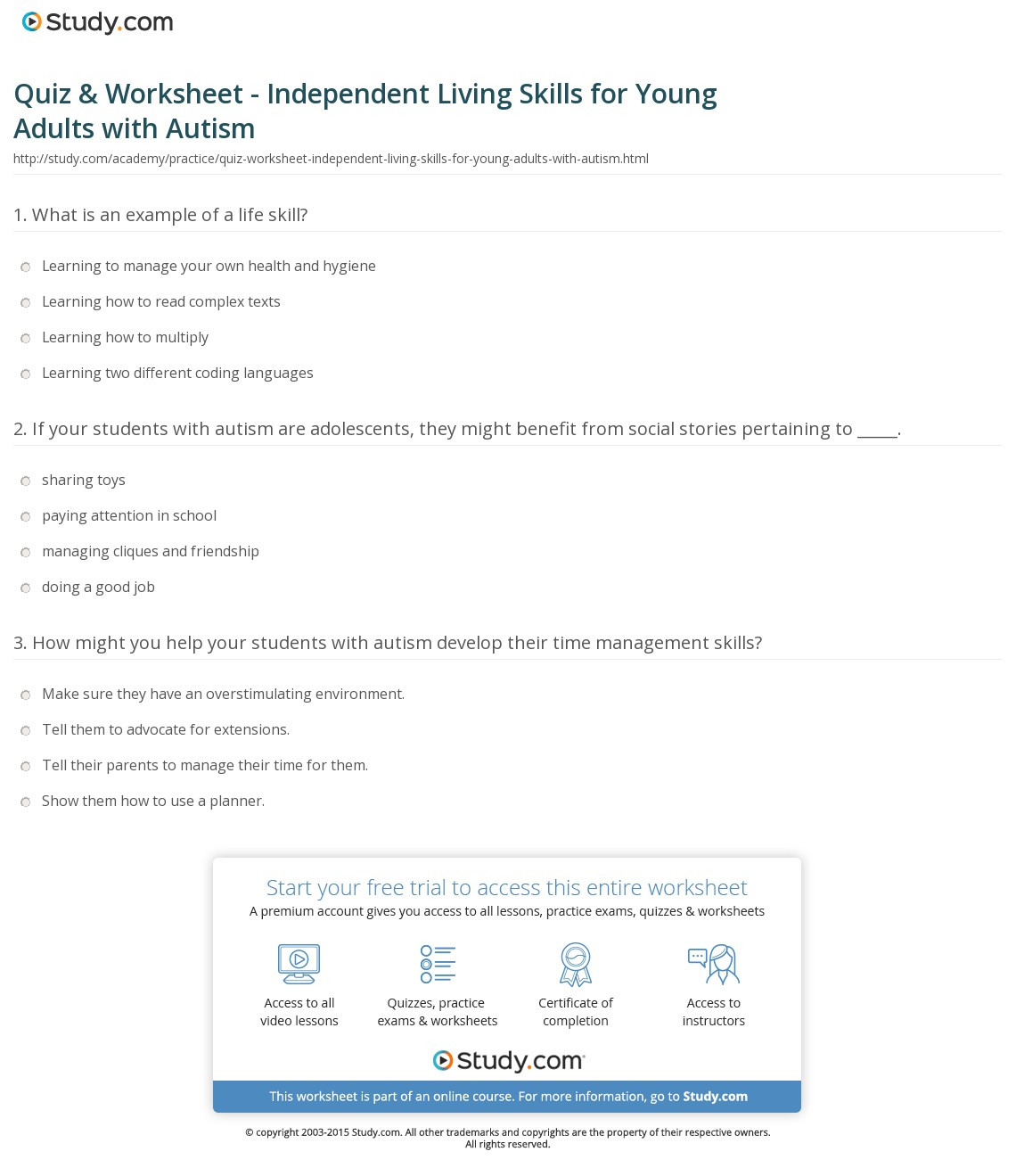 Free Independent Living Skills Worksheets Free Independent Living Skills Worksheet