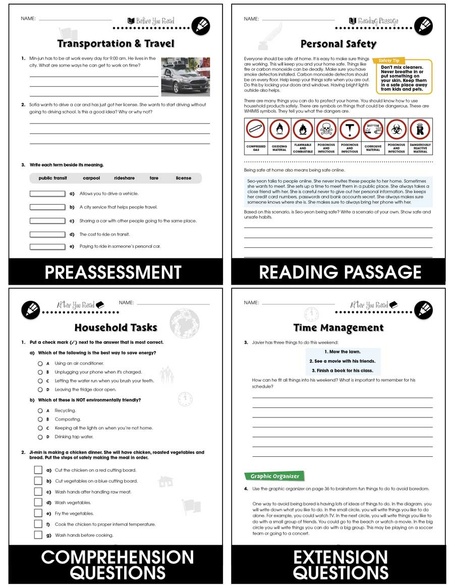 Free Independent Living Skills Worksheets Practical Life Skills Independent Living Grades 9 to 12