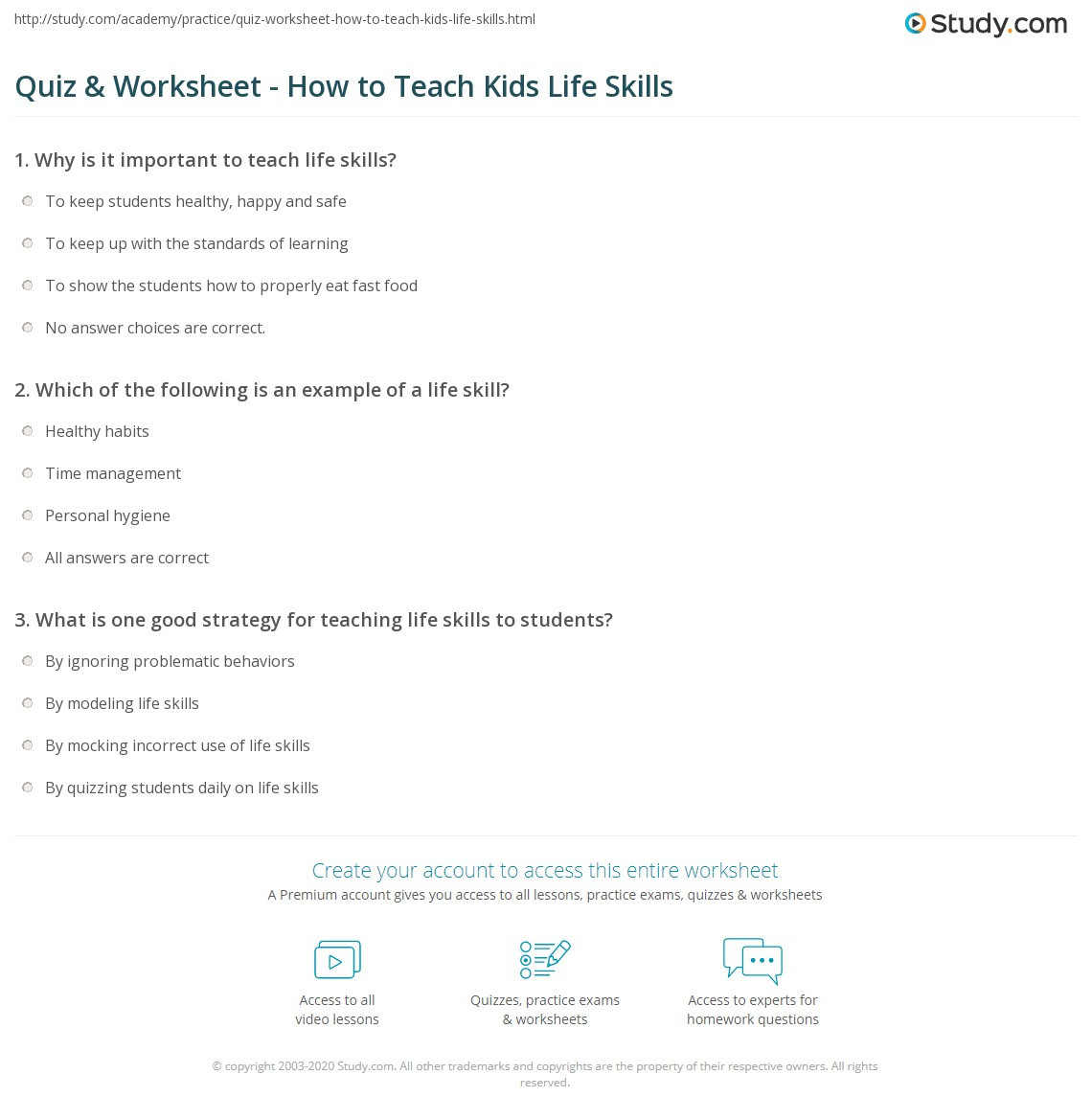 Free Life Skills Worksheets Quiz & Worksheet How to Teach Kids Life Skills