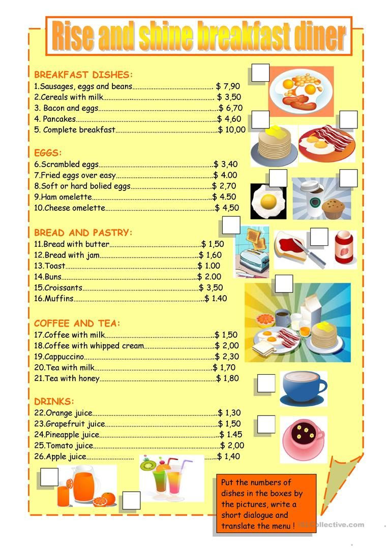 Free Menu Math Worksheets Breakfast Menu