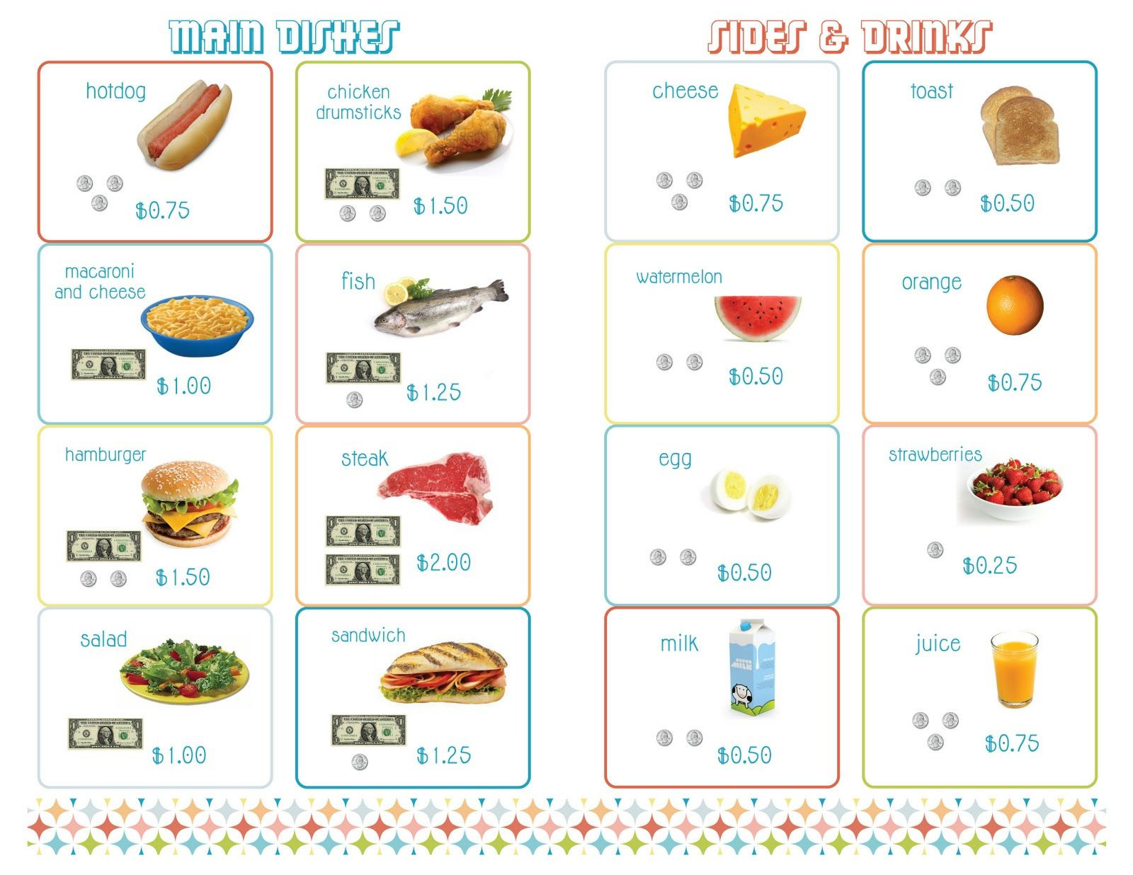Free Menu Math Worksheets Delightful Distractions Printable Menus for Playing