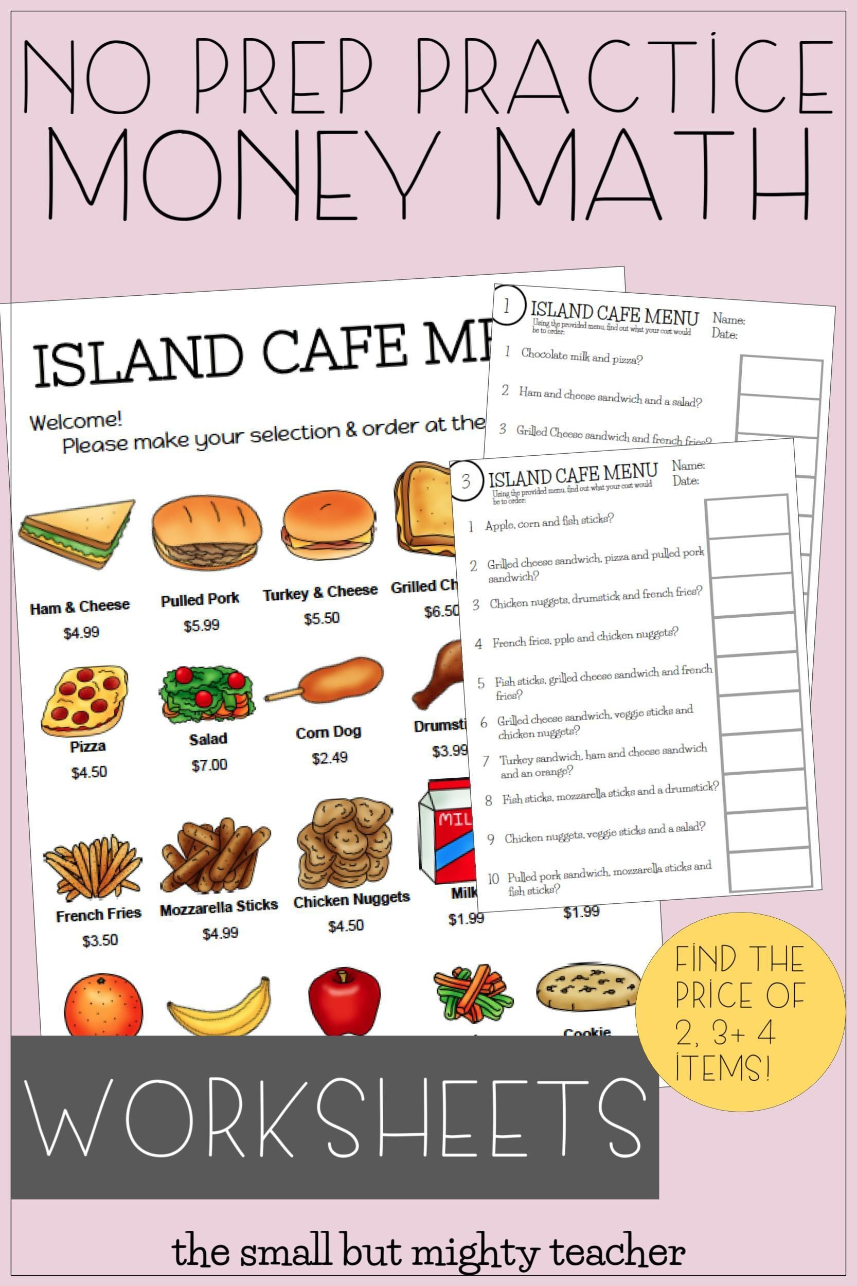 Free Menu Math Worksheets Menu Math Distance Learning In 2020