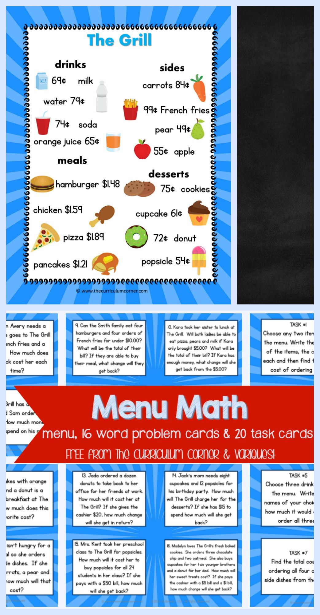 Free Menu Math Worksheets Menu Math for 4th & 5th Graders