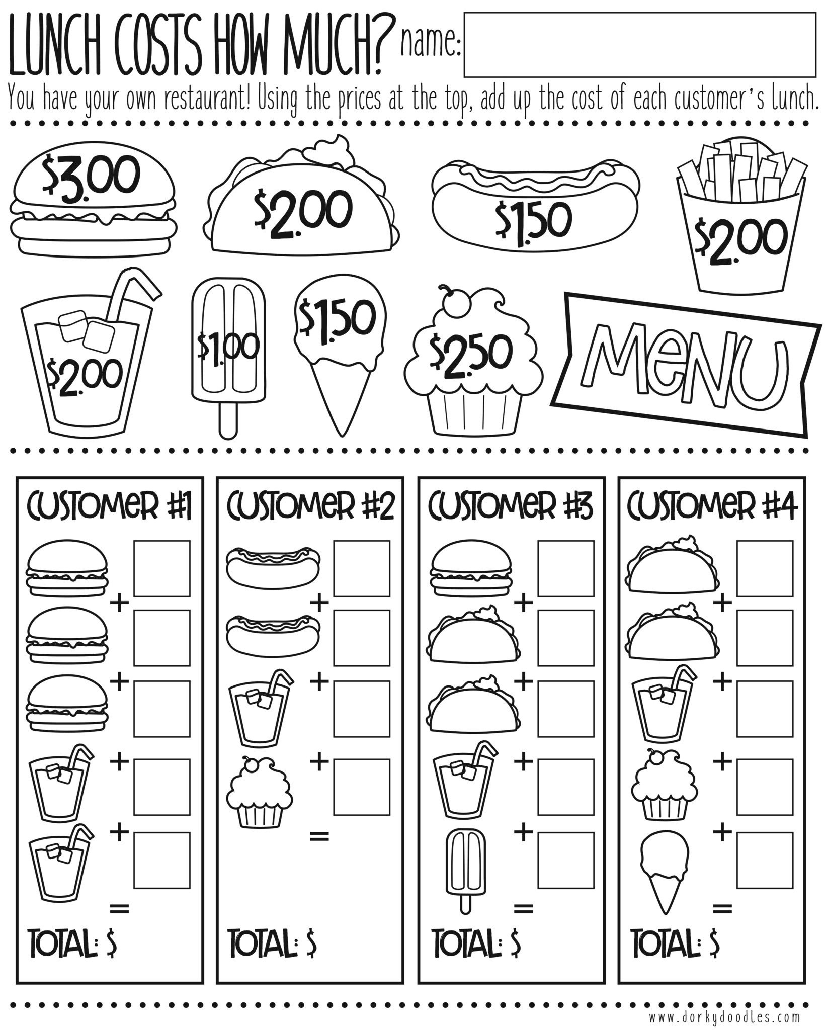 Free Menu Math Worksheets Money Math Practice How Much Does Lunch Cost – Dorky Doodles