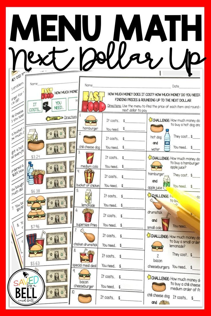Free Menu Math Worksheets Next Dollar Up Worksheets and Word Problems Menu Math