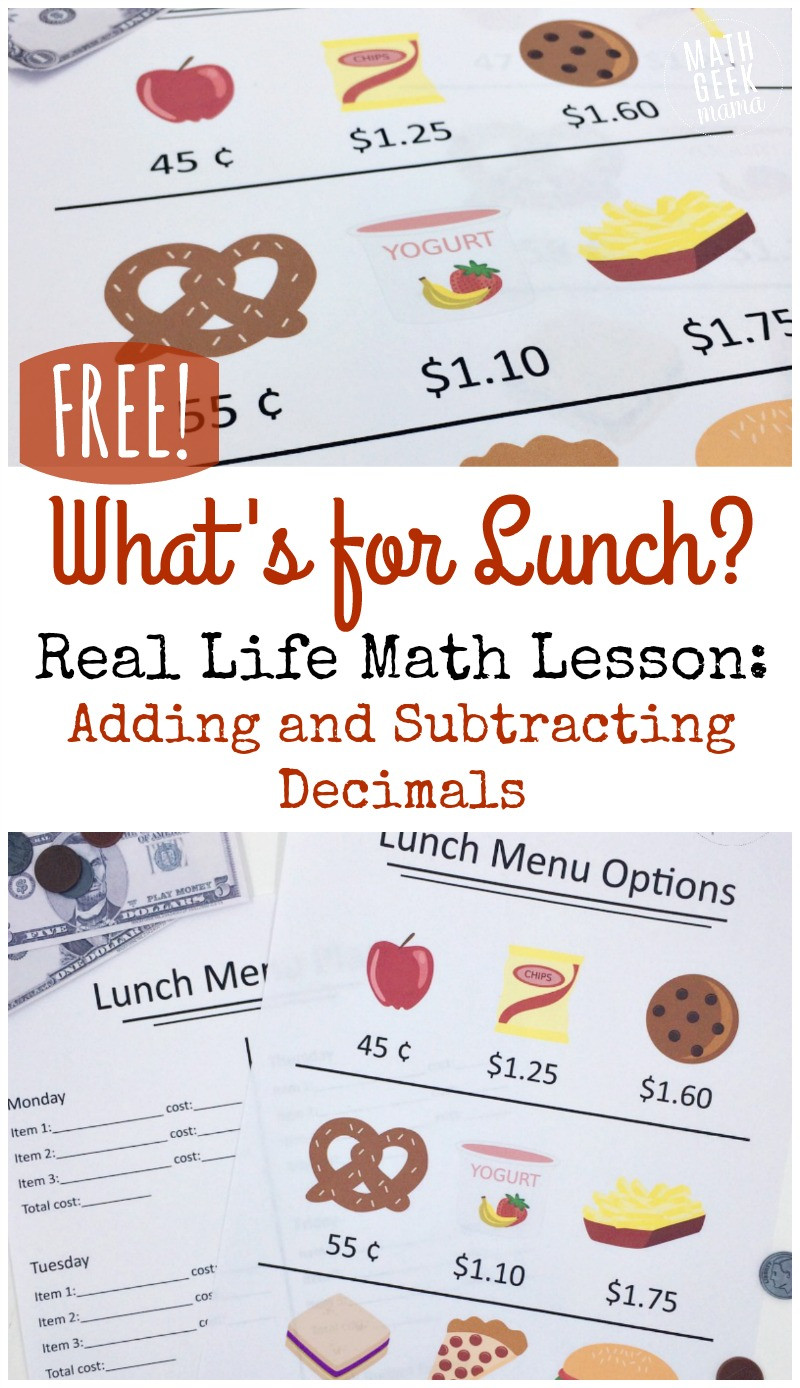 Free Menu Math Worksheets Real Life Adding and Subtracting Decimals Lesson Free
