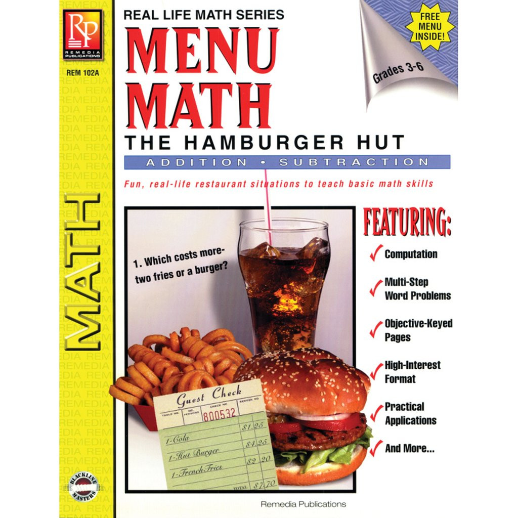 Free Menu Math Worksheets Remedia Publications Real Life Math Series Menu Math the Hamburger Hut Addition & Subtraction Activity Book