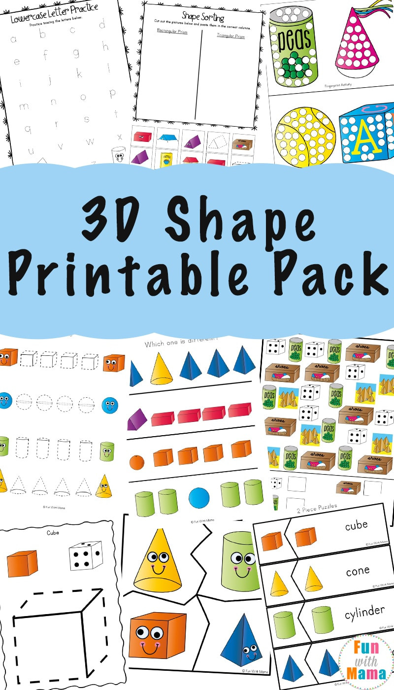 Free Printable 3d Shapes Worksheets 3d Shape Worksheets Fun with Mama