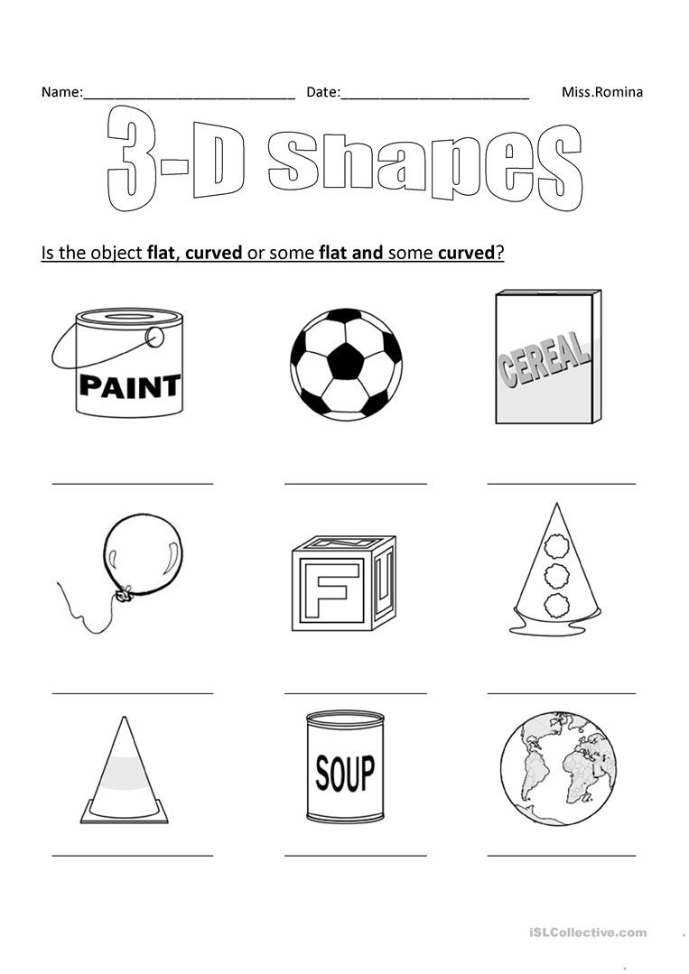 Free Printable 3d Shapes Worksheets 3d Shapes English Esl Worksheets for Distance Learning and