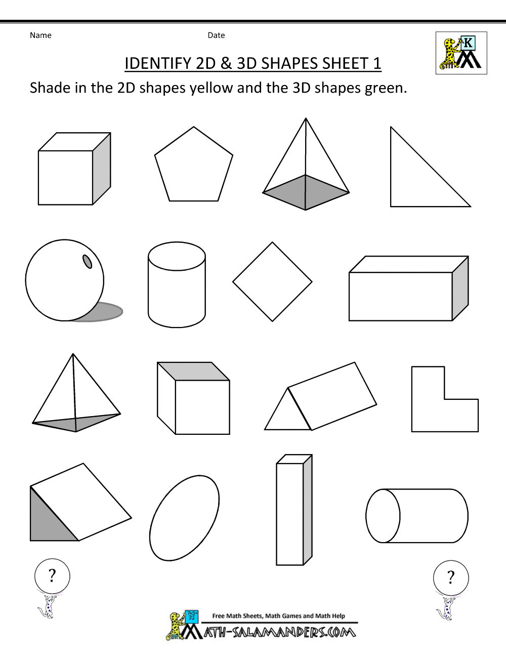 Free Printable 3d Shapes Worksheets Math Worksheet Splendi Free Printable Worksheets for Grade