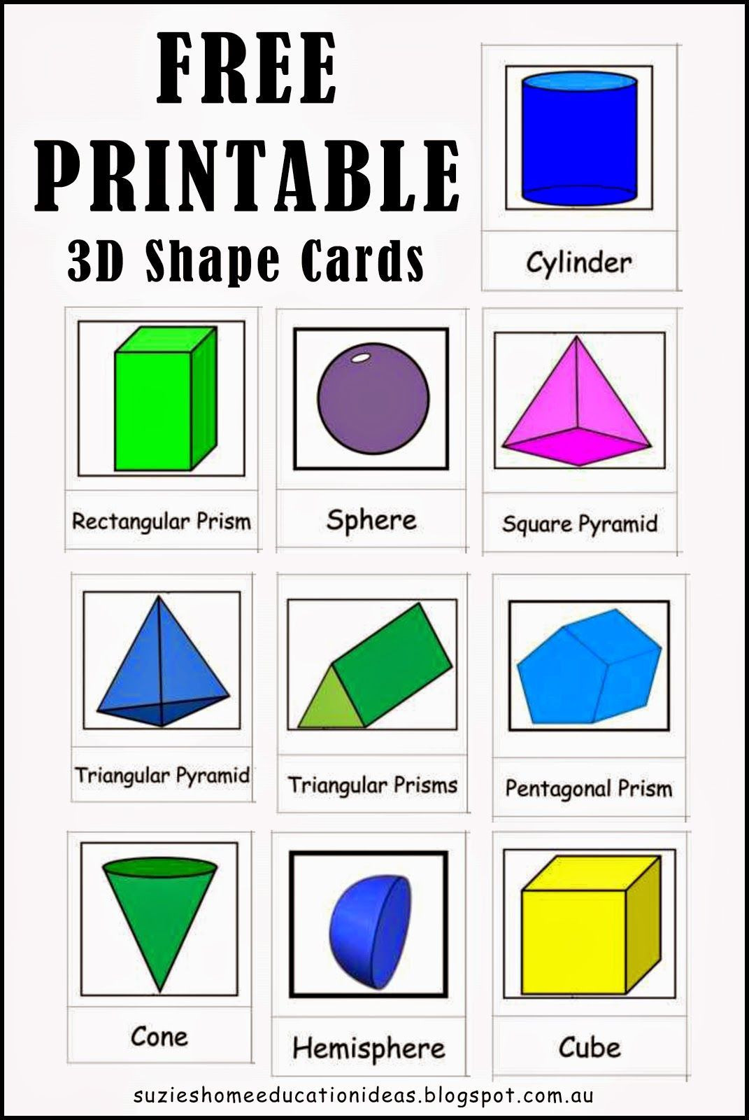 Free Printable 3d Shapes Worksheets Pin On Printables Template Worksheets