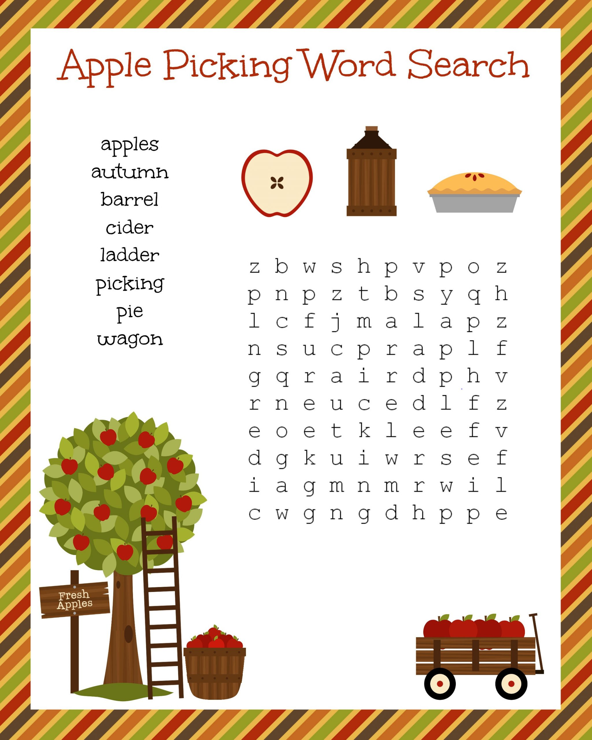 Free Printable Apple Worksheets Free Fall Festive Apple Picking Word Search Printable Worksheet