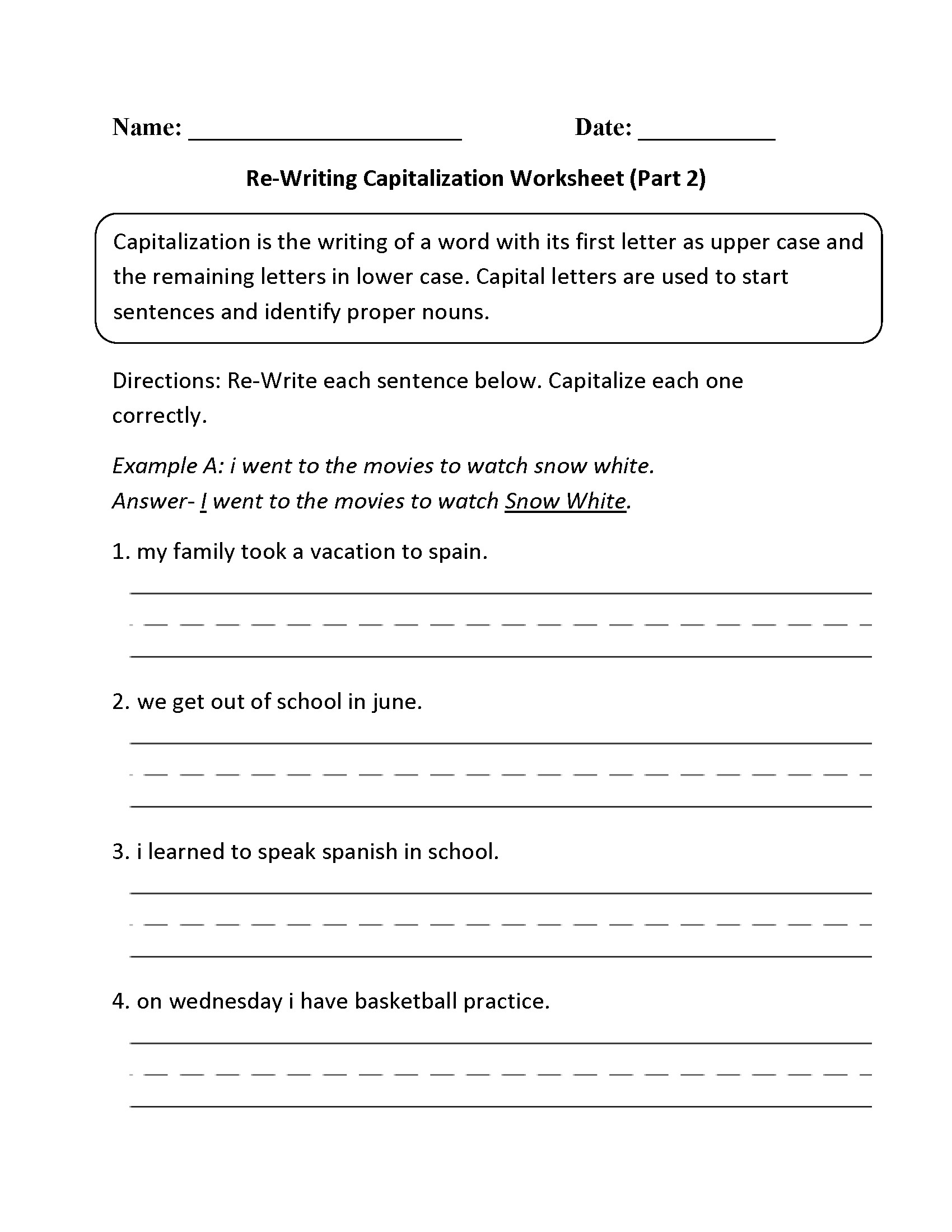 Free Printable Capitalization Worksheets Simple Punctuation Capitalization Worksheet