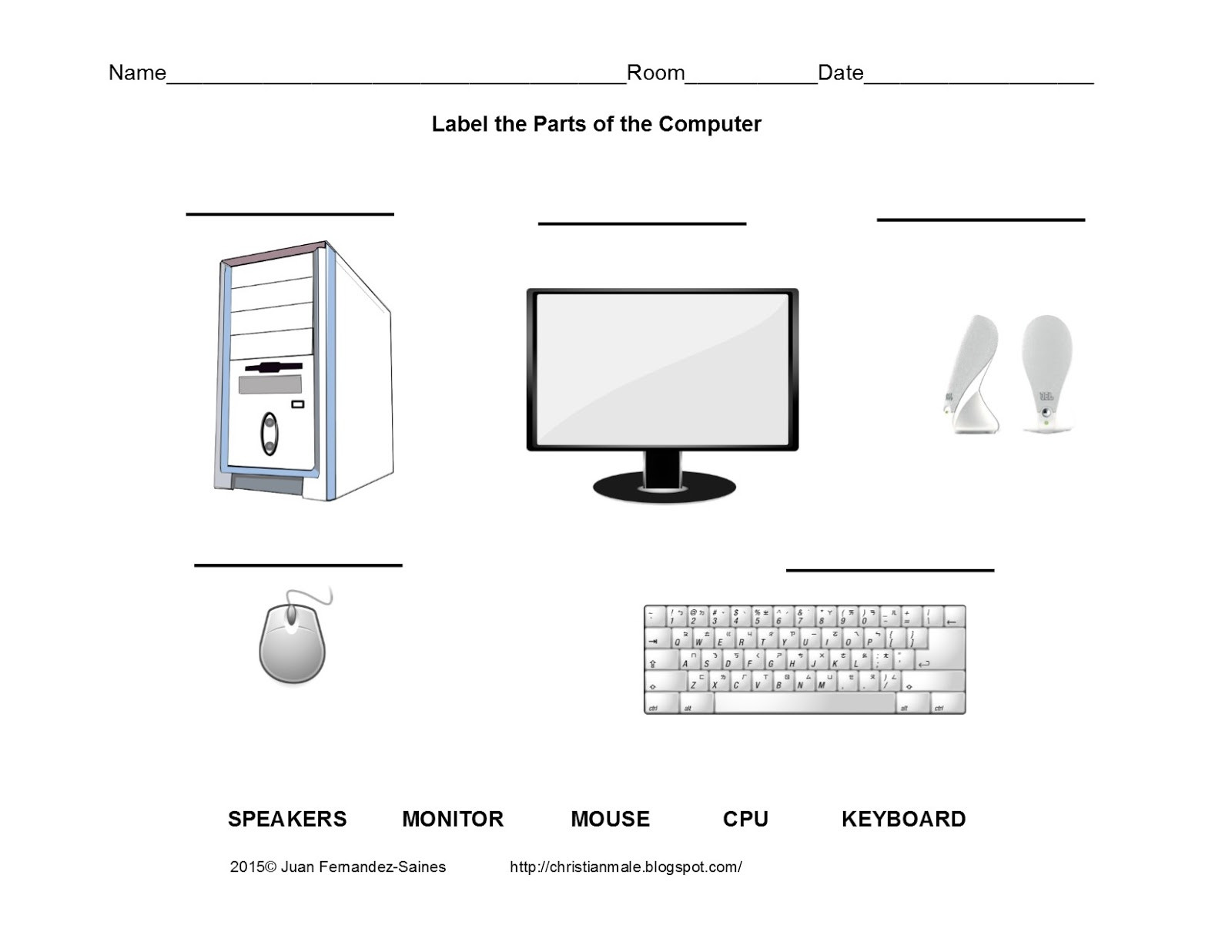 Free Printable Computer Keyboarding Worksheets Parts the Puter Worksheet