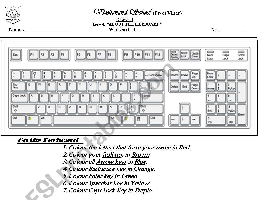 Free Printable Computer Keyboarding Worksheets Puter Keyboard Esl Worksheet by Mohita