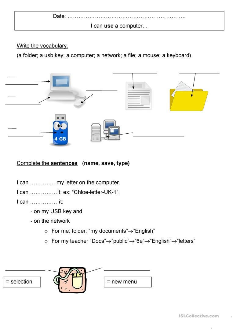 Free Printable Computer Keyboarding Worksheets Puter Vocabulary