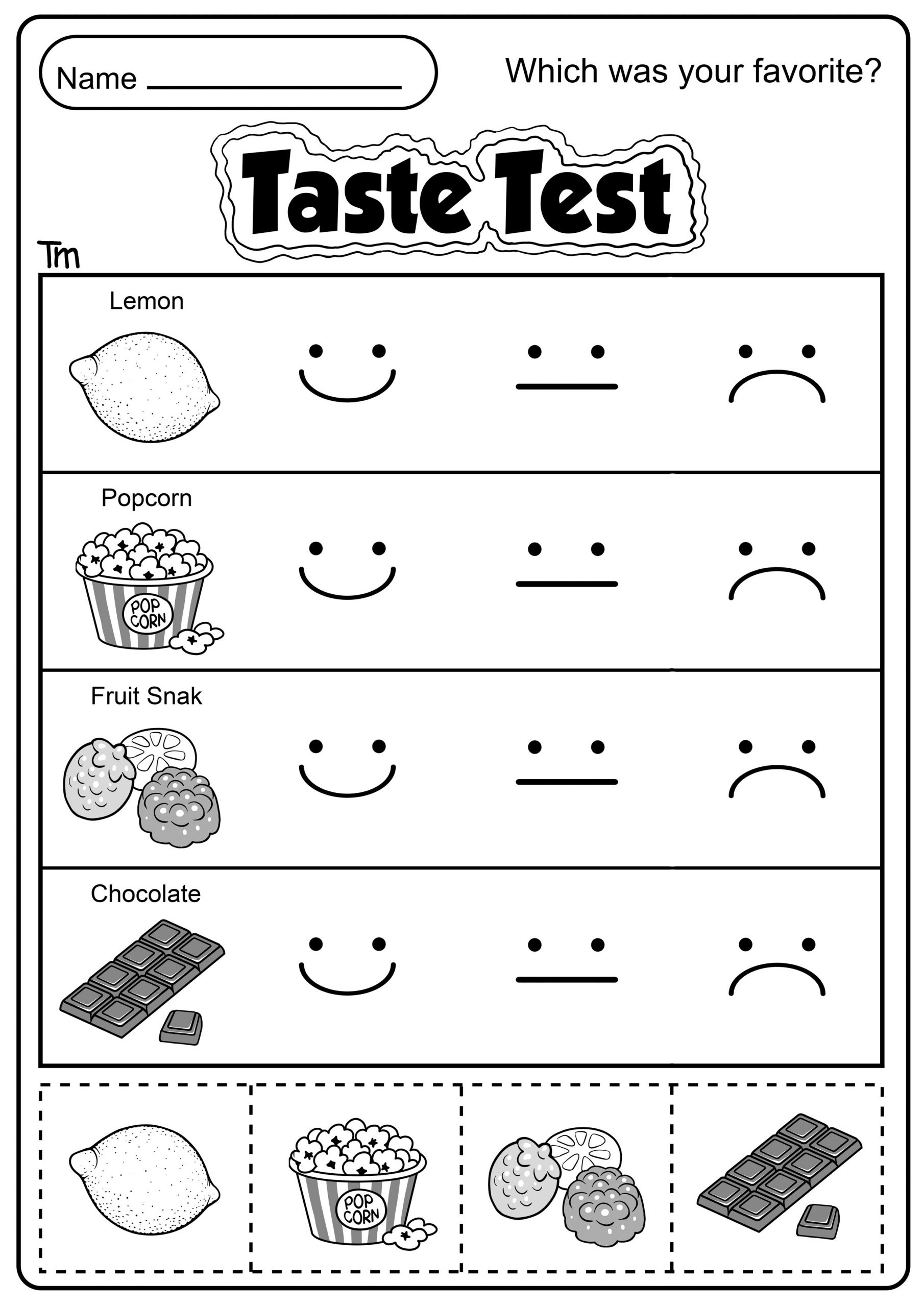 Free Printable Five Senses Worksheets the Five Senses Taste Test Teachersmag