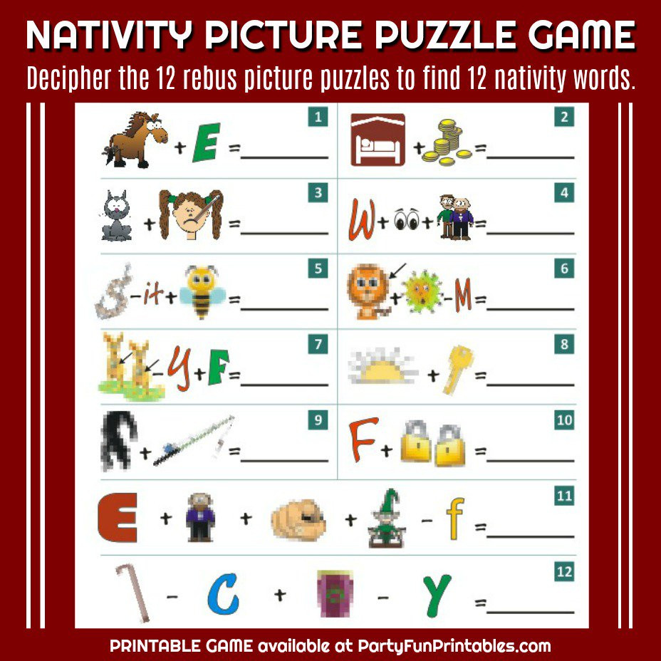 "Free Printable Rebus Puzzles Wendy Legendre On Twitter ""nativity Christmas Picture"