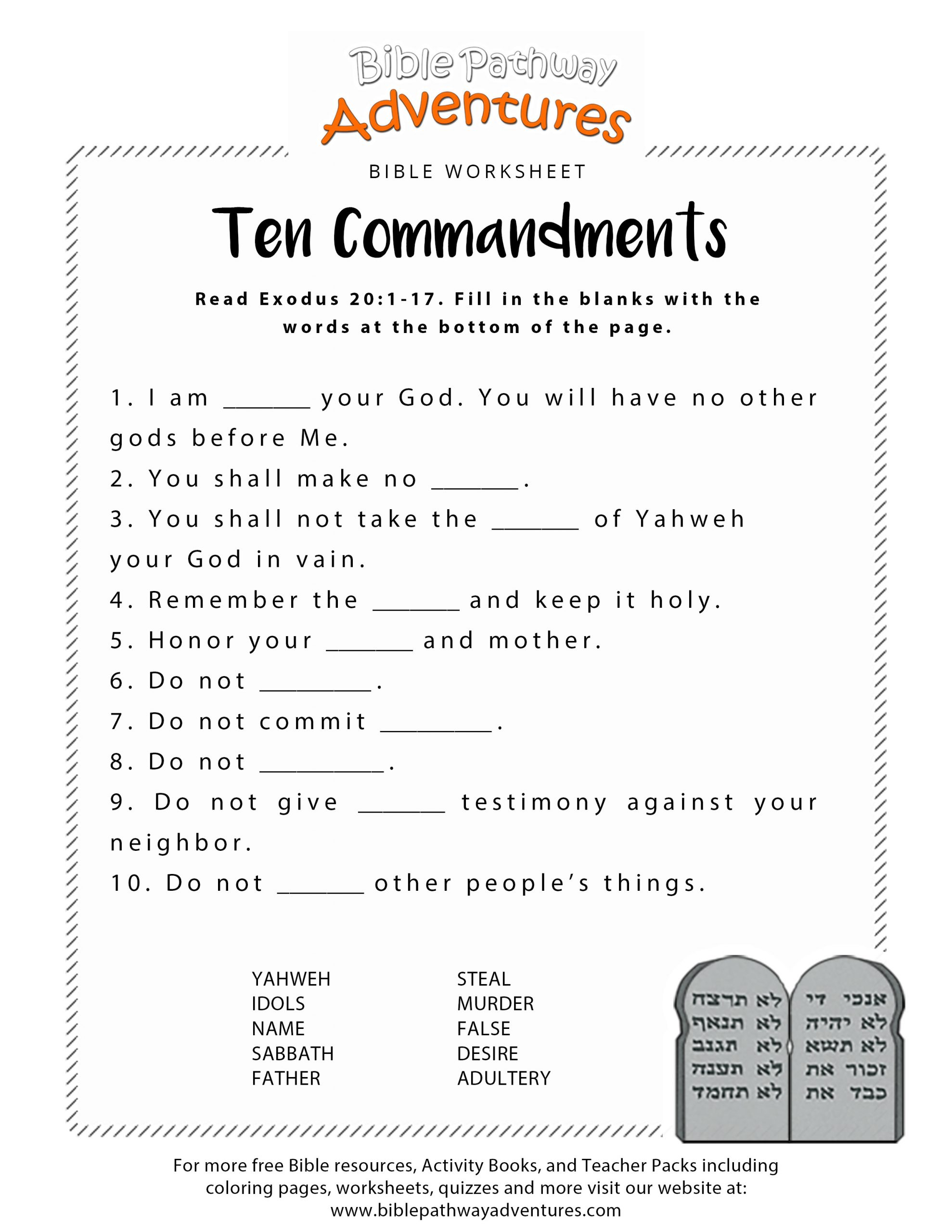 Free Printable Religious Worksheets Children Ten Mandments Worksheets