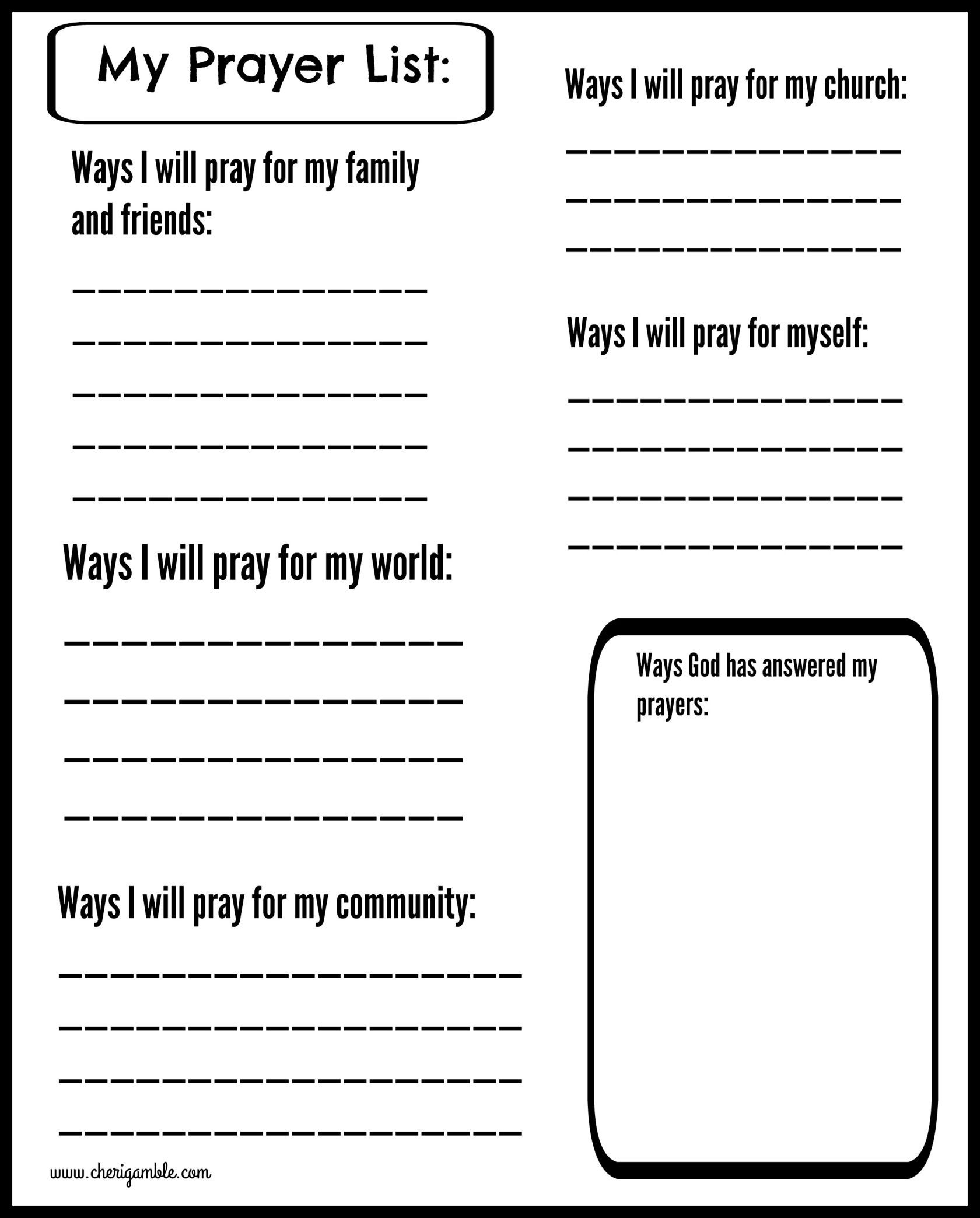 Free Printable Religious Worksheets Free Prayer Journal Pages Designed for Children and Teens
