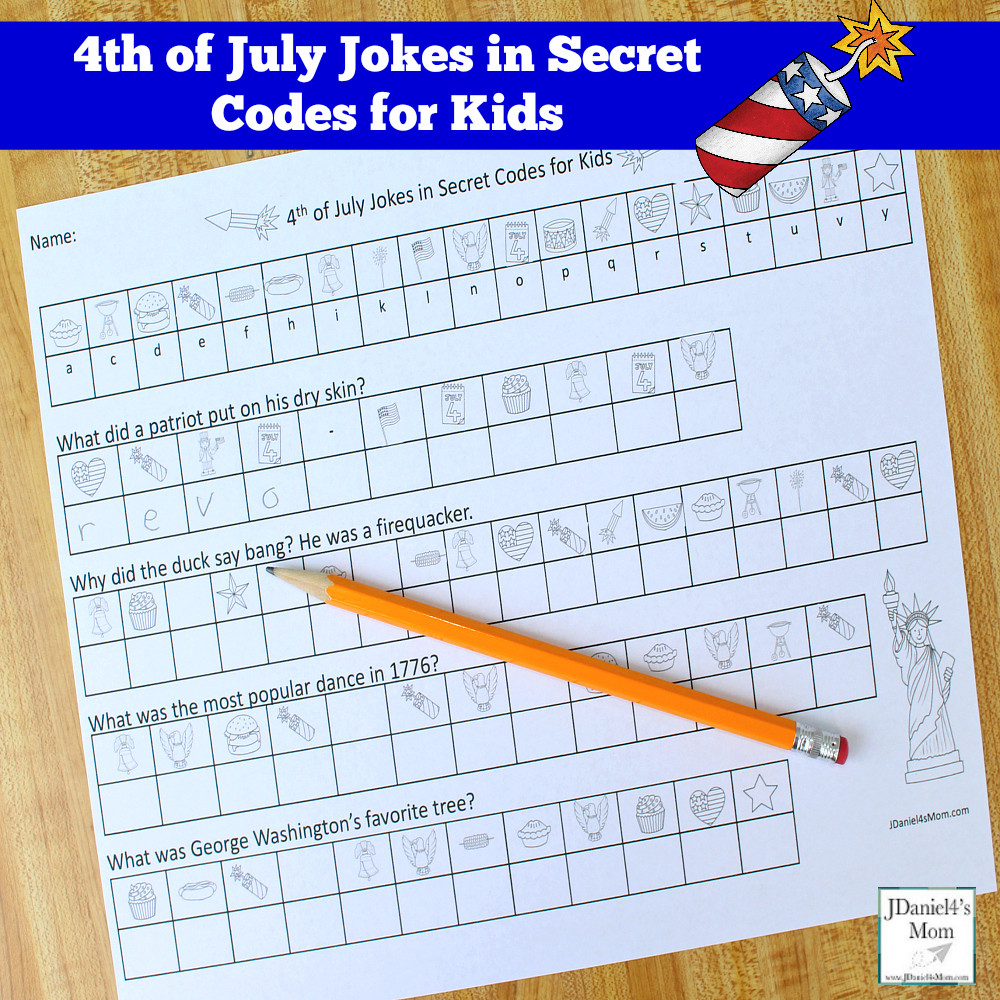 Free Printable Secret Code Worksheets 4th Of July Jokes In Secret Codes for Kids