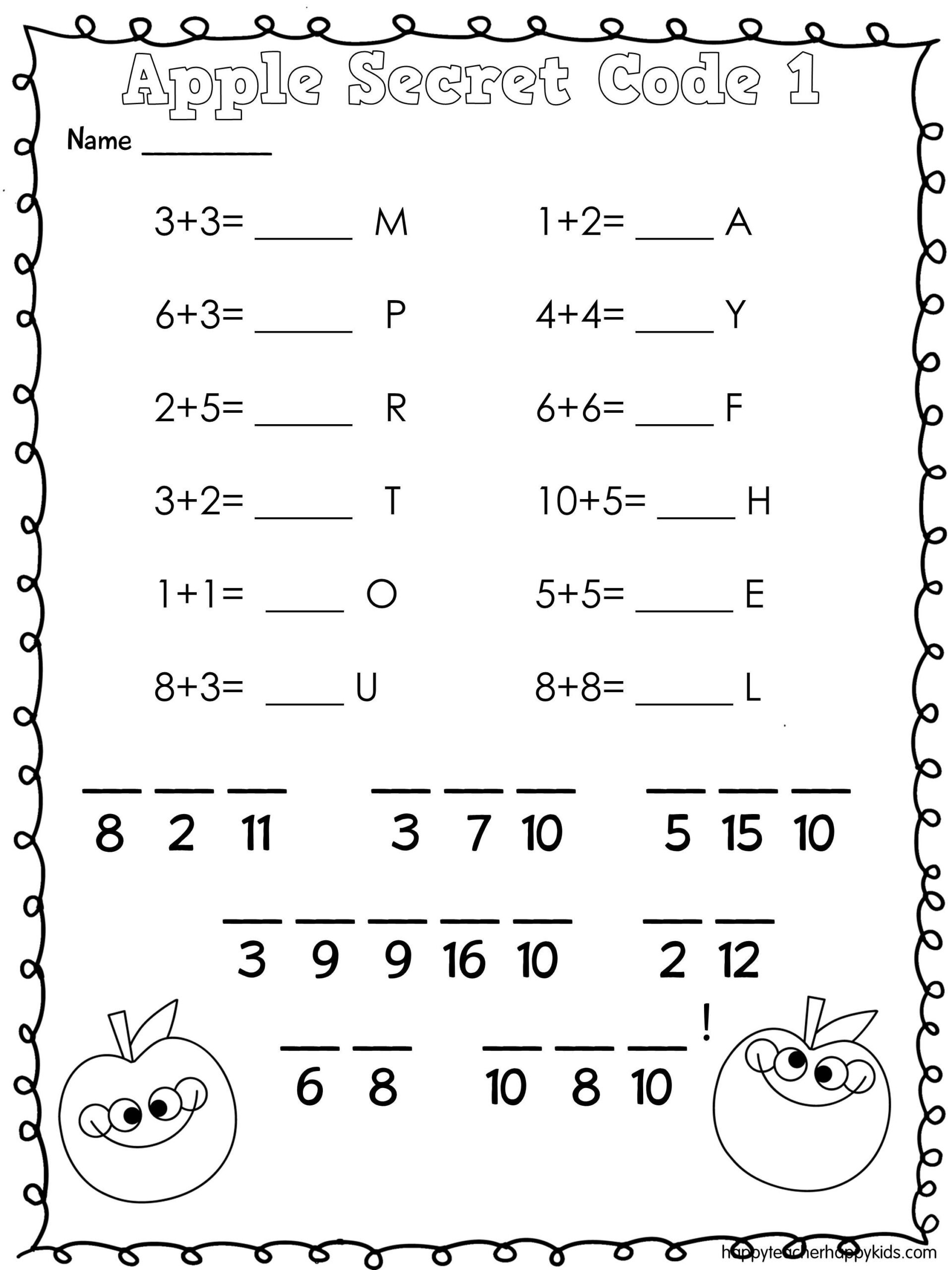 Free Printable Secret Code Worksheets Apple Math Secret Code Teaching for Kids Free Worksheets