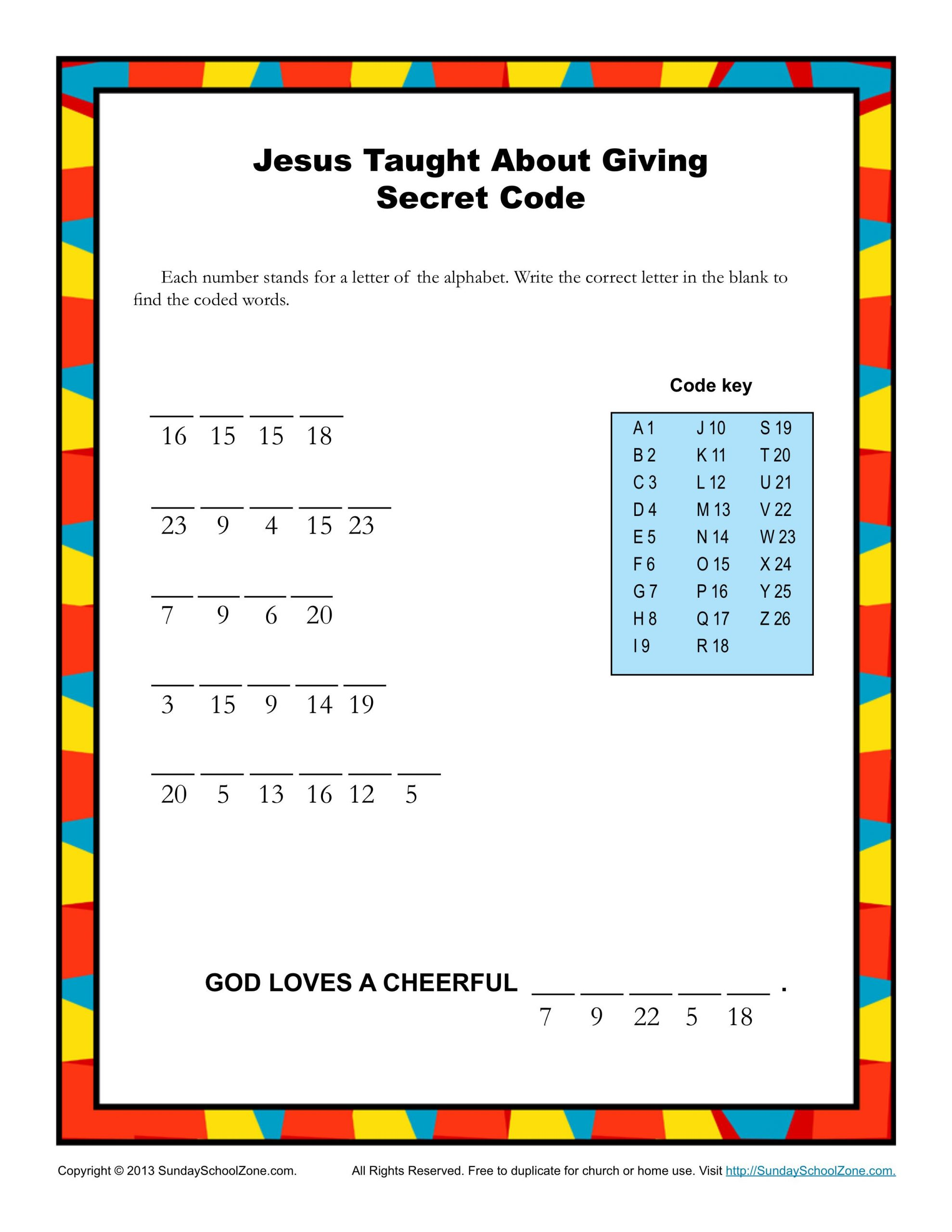 Free Printable Secret Code Worksheets Bible Secret Code Worksheets