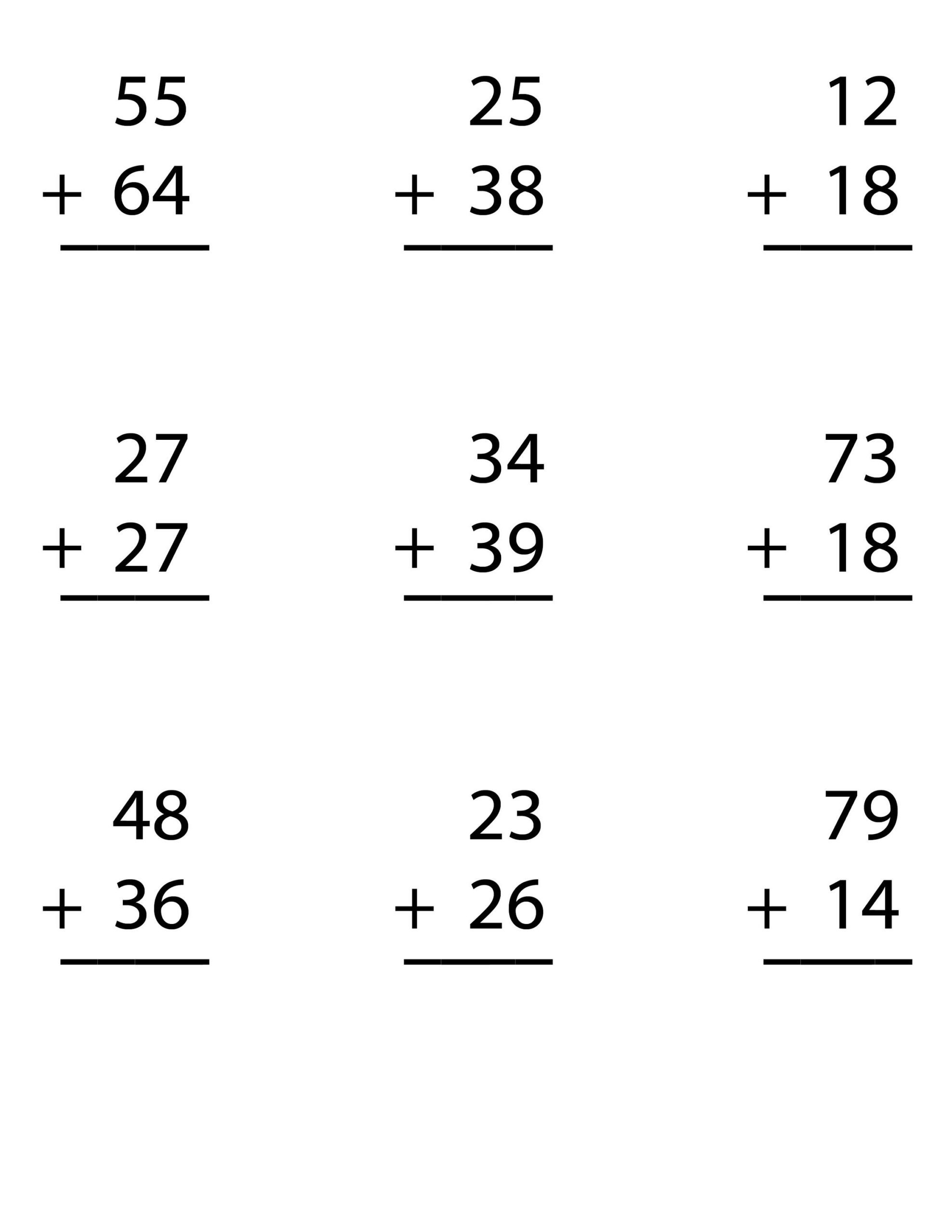 Free touch Math Worksheets Math Worksheet Second Grade Addition Worksheets Math