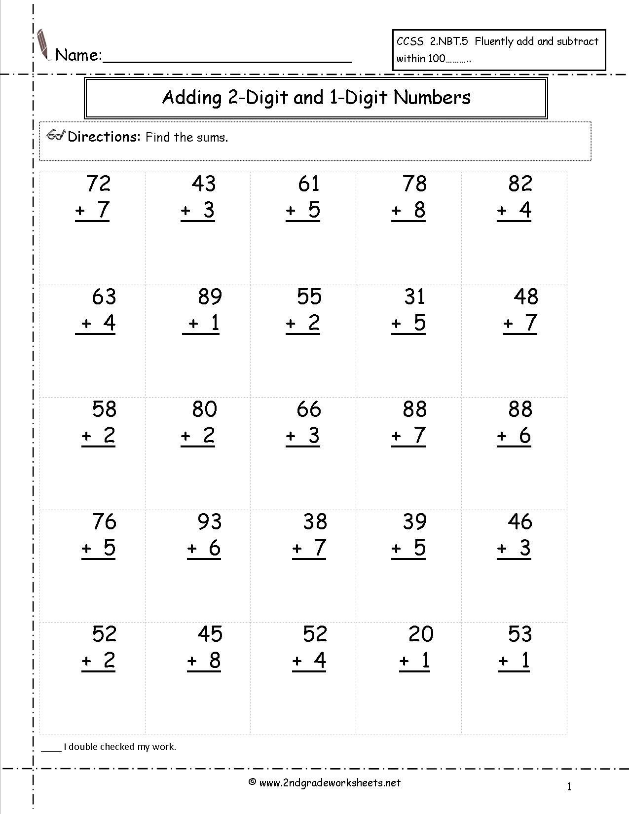 Free touch Math Worksheets Math Worksheet Second Grade Addition Worksheets touch Math