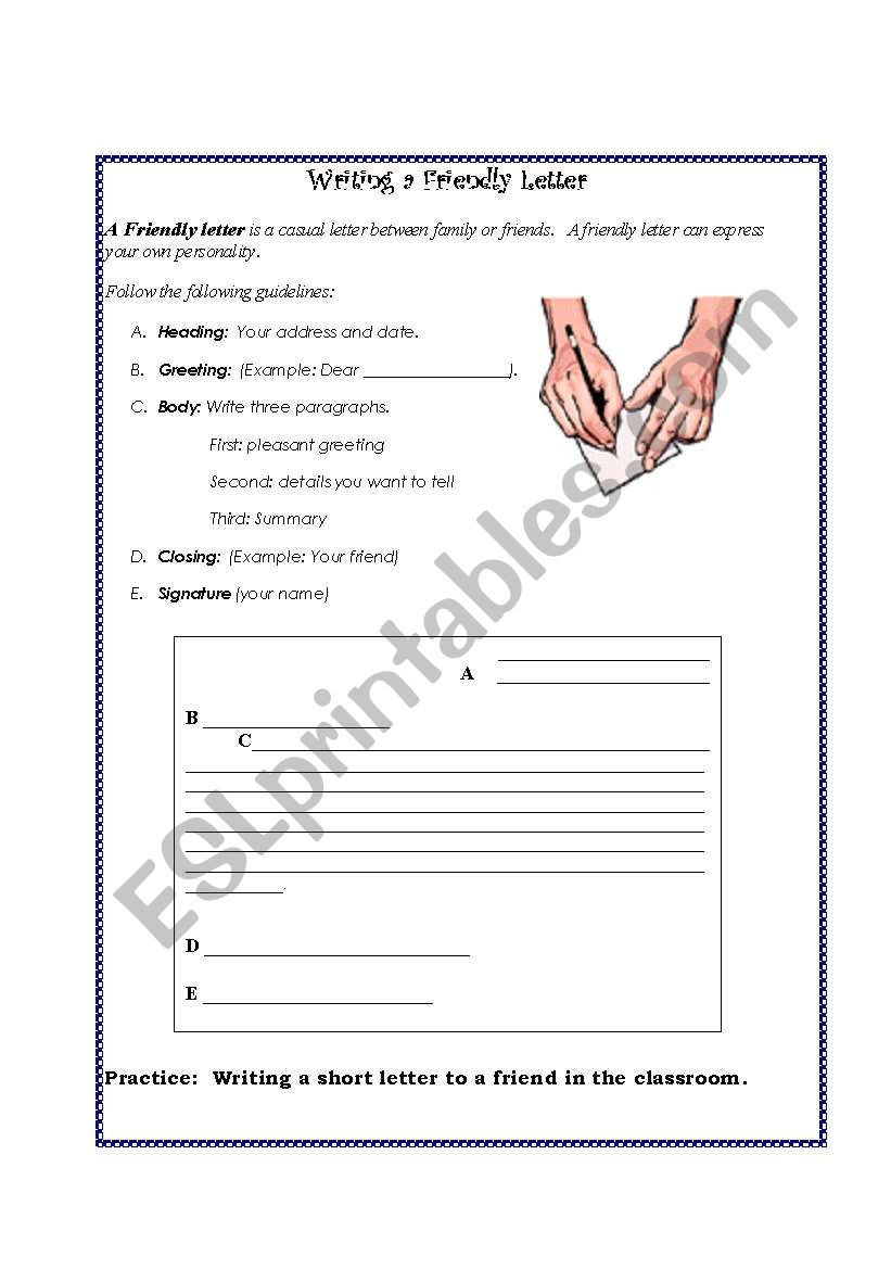 Friendly Letter Writing Worksheets Friendly Letter Esl Worksheet by Nilaxal