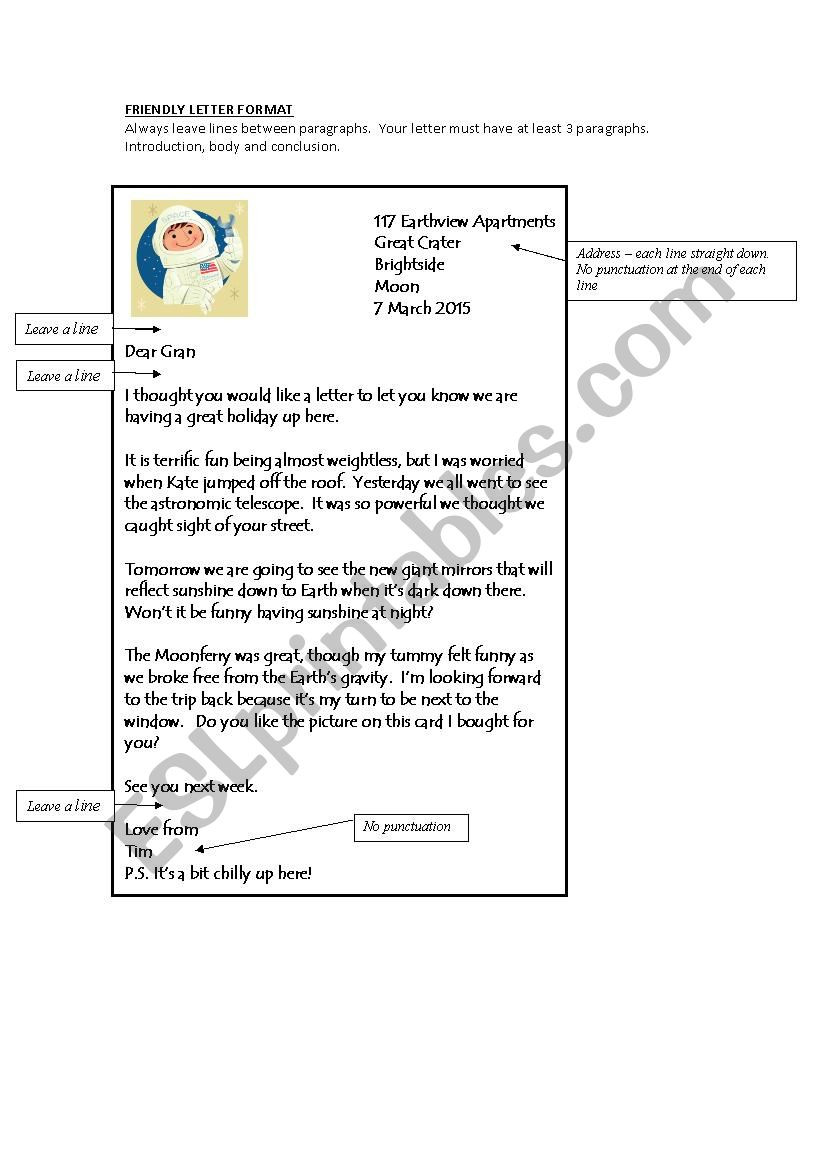 Friendly Letter Writing Worksheets Friendly Letter format Esl Worksheet by Bevm