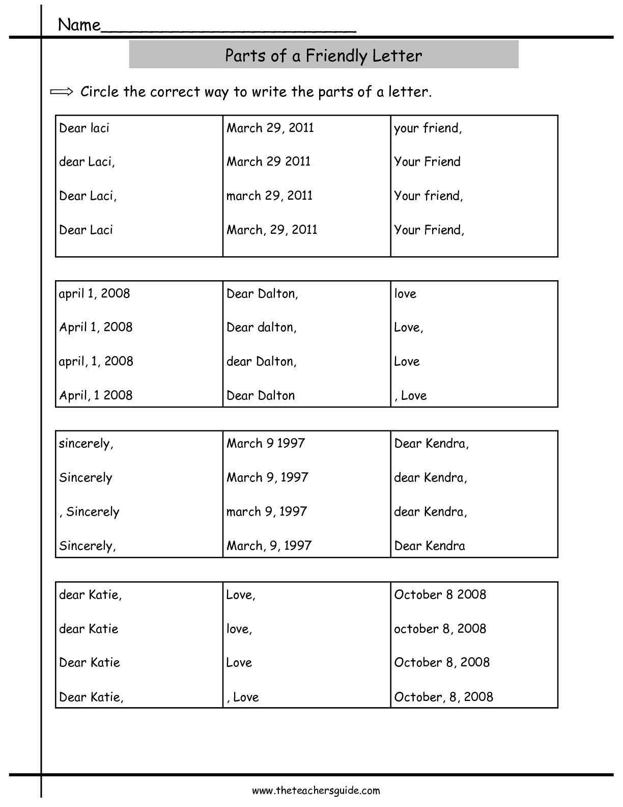 Friendly Letter Writing Worksheets Friendly Letter format Worksheet