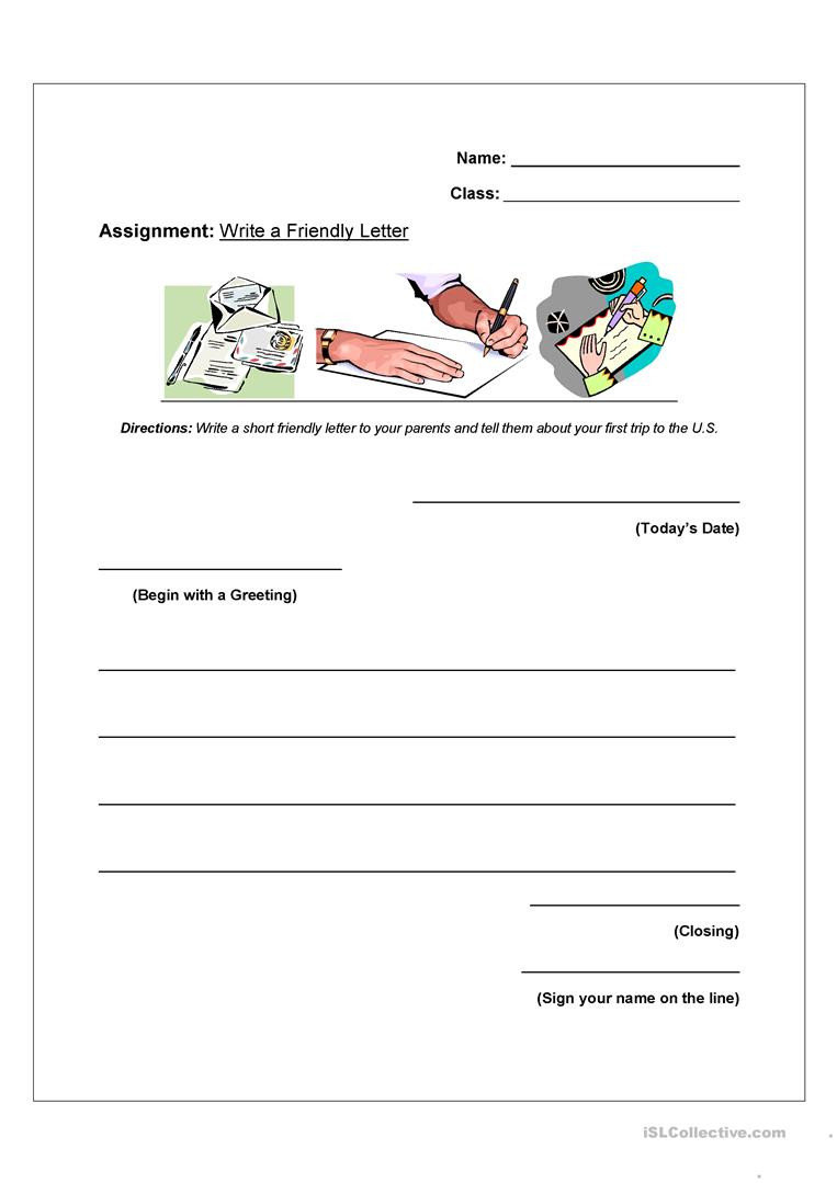 Friendly Letter Writing Worksheets How to Write A Friendly Letter Worksheet English Esl