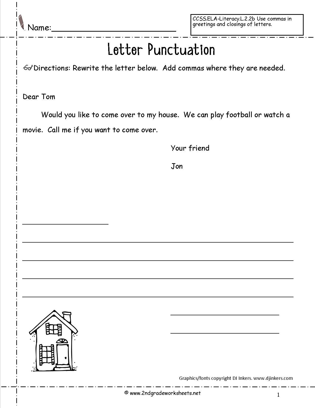 Friendly Letter Writing Worksheets Letters and Parts Of A Letter Worksheet