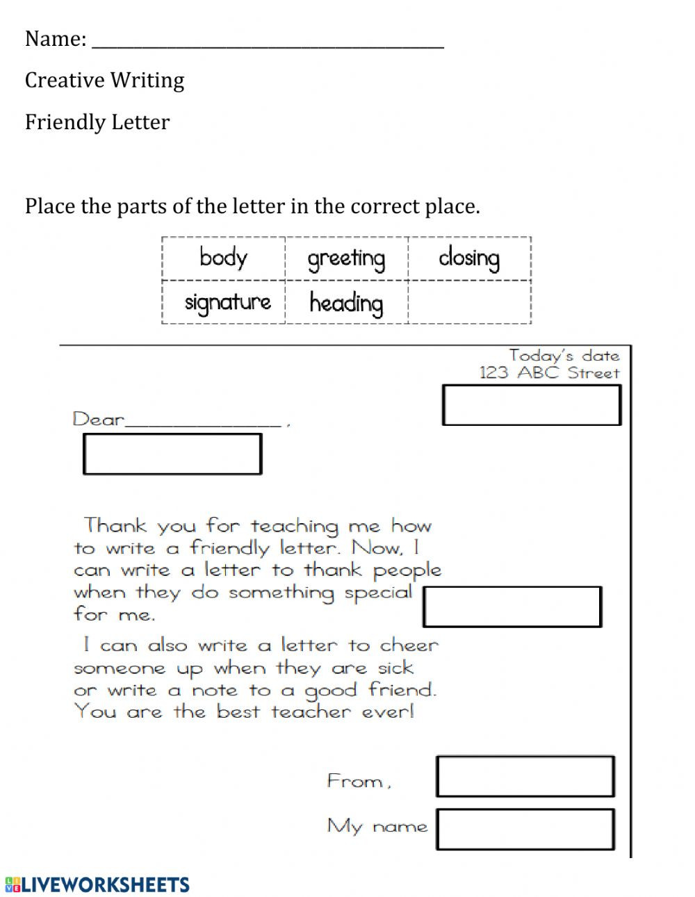 Friendly Letter Writing Worksheets Parts Of the Friendly Letter Interactive Worksheet