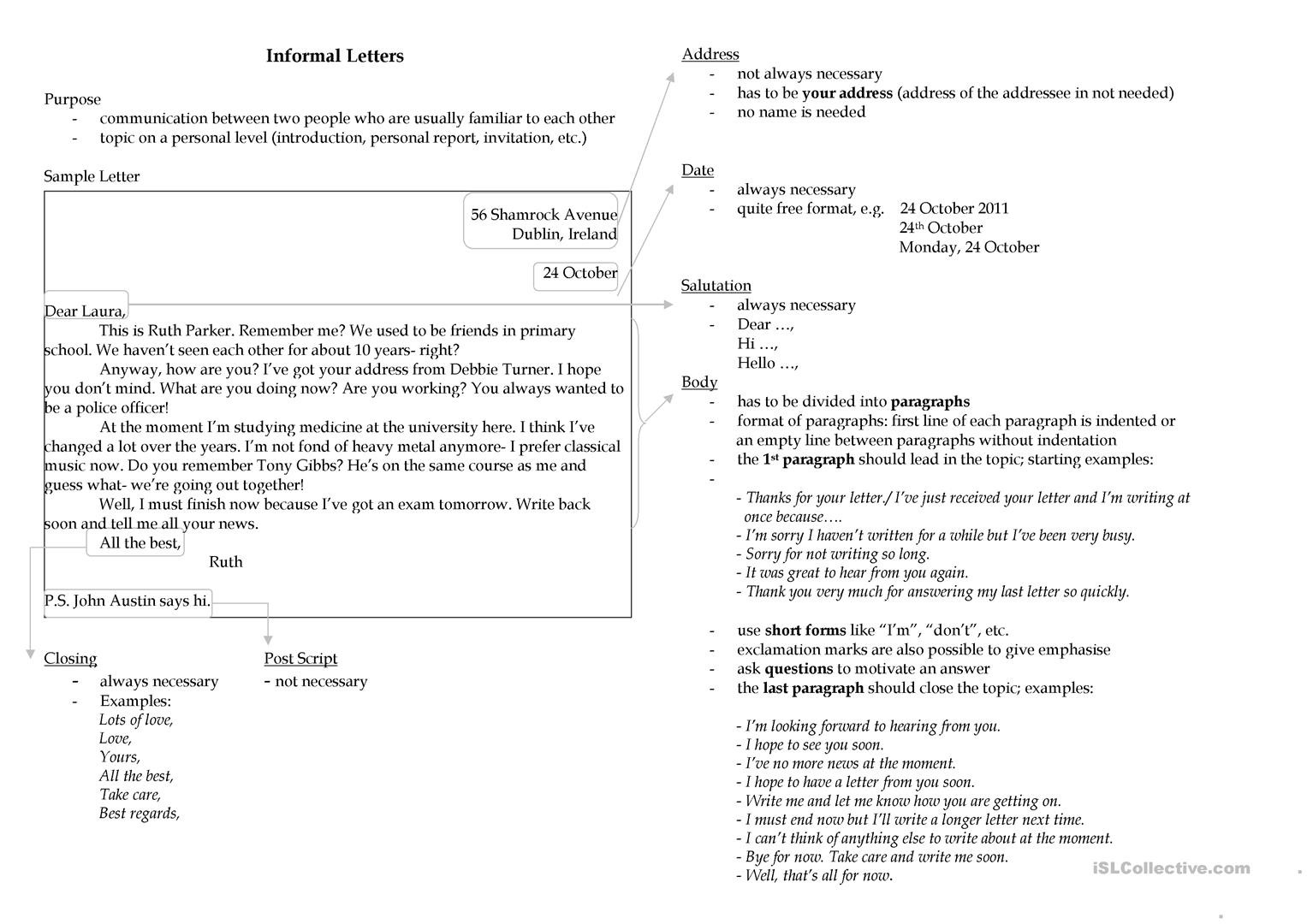 Friendly Letter Writing Worksheets Writing An Informal Letter English Esl Worksheets for