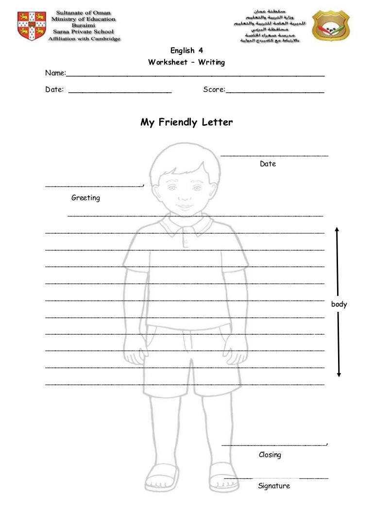 Friendly Letter Writing Worksheets Writing Worksheet My Friendly Letter