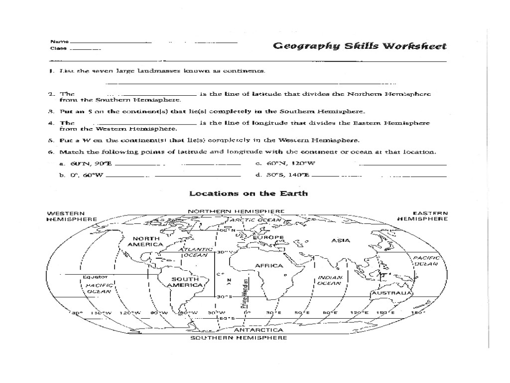 Geography Map Skills Worksheets 4th Grade Map Skills Worksheets